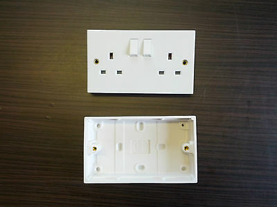 13A Twin Switched Socket, White - With White Surface Back Box