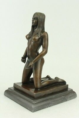 Large Nude Youthful Sexy Woman Bronze Sculpture Original Erotic Art Deco Gift