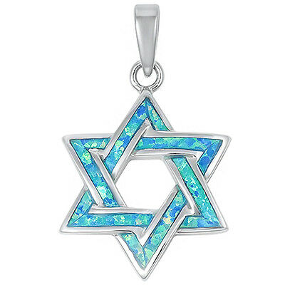 Blue Opal Star Of David .925 Sterling Silver Pendant 26mm