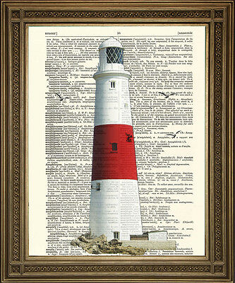 Vintage Lighthouse, Red & White Coastal Seaside Dictionary Page Art Print