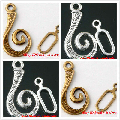 New ! 100sets Antique Silver/Bronze Stone Snail Shape Findings Toggle Clasps