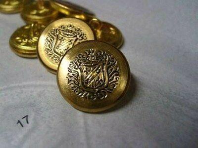 5 VINTAGE COAT OF ARMS ANTIQUE GOLD METAL ITALIAN BUTTONS 18mm