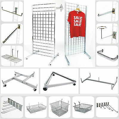 Gridwall Panel Grid Wall Mesh Hooks Prongs Arms Chrome Shop Display Stand