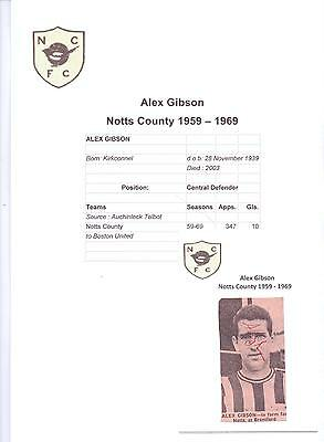 Alex Gibson Notts County 1959-1969 Rare Original Hand Signed Picture Cutting