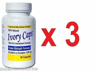 3 Bottles Ivory Caps Glutathione Pill Skin Whitening Lightening Max Pills 1500mg