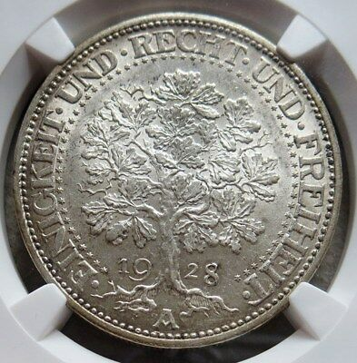 1928 -A Silver Germany Weimar Republic 5 Reichsmark Coin Ngc Mint State 63