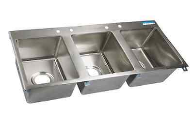 """BK Resources 3 Compartment Drop In Sink 16""""x20""""x12"""" NSF BK-DIS-1620-3"""