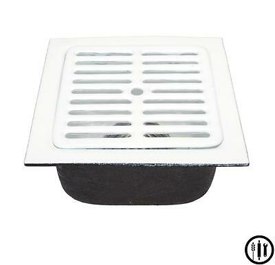 """Floor Sink-12"""" x 12"""" x 6"""" w/ 3"""" Drain, Aluminum Dome Strainer and Full Top Grate"""