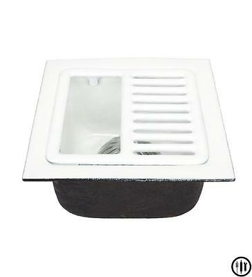"Floor Sink-12"" x 12"" x 6"" w/ 2"" Drain, Aluminum Dome Strainer and 1/2 Top Grate"