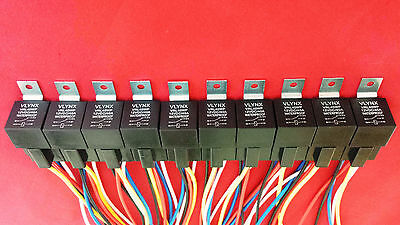Qty5 Relay +5 Interlocking 5 Pin Sockets 12V Dc 30 40A Waterproof Spdt