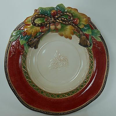 """FITZ & FLOYD china HOLIDAY SOLSTICE pattern Round Vegetable Serving Bowl 13-1/4"""""""