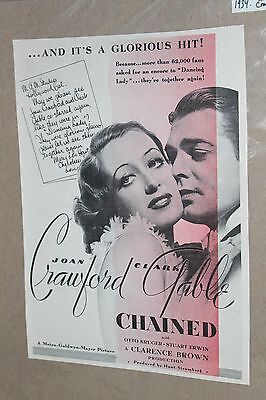 1934 Movie Film Ad Clipping ~ CHAINED ~ Joan Crawford Clark Gable