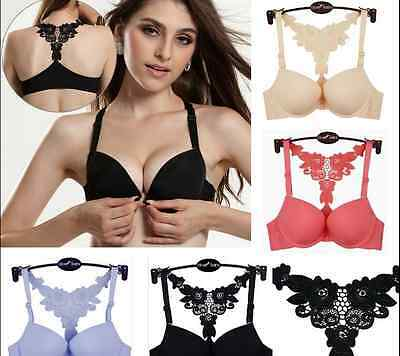 Sexy Womens Front Closure Lace Racer Back Racerback Push Up Seamless Bra Fashion