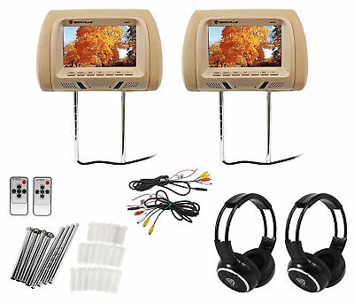 "Pair Rockville RHP7-BG 7"" Beige LCD Car Headrest Monitors + 2 Wireless Headsets"