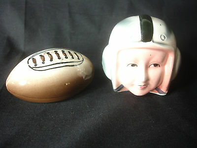 Football And Football Player With Helmet Salt And Pepper Shakers Set Made Japan