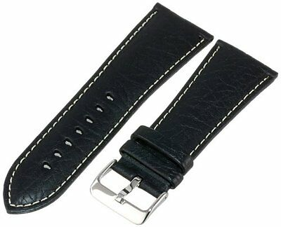 Hadley-Roma Mens MSM906RA-300 30-mm Black Genuine Leather Watch Strap
