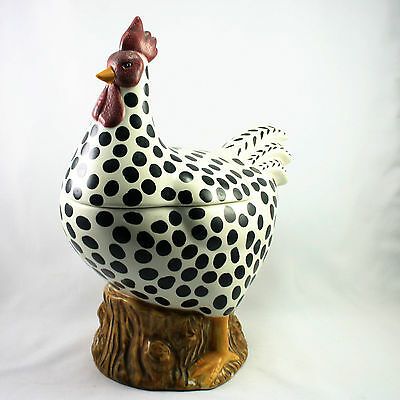 Large Chicken Black White Cookie Jar- Country Decor Sakura 13.5 inches