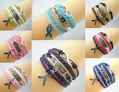 Hot Infinity/Hope/Breast Cancer Awareness Sign Ribbon Charms Leather Bracelet