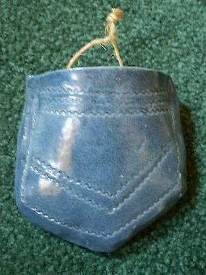 Handmade Pottery - Denim Jean-Look Wall Pocket - Country Western Look, Rustic