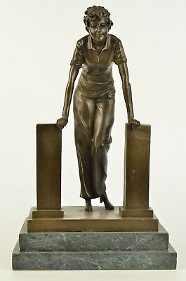 "bronze statue art deco girl bronze dancer sculpture ""Coy Dancer"" signd PREISS"