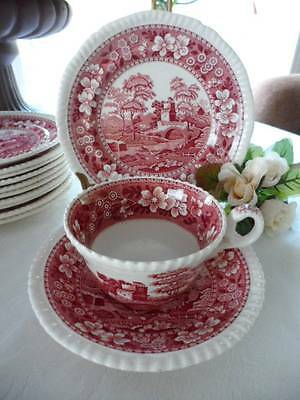 3-PC Teacup Trio: Copeland Spode England Pink TOWER Gadrooned Old Mark Good