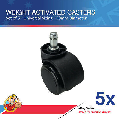Friction Casters Weight Activated Round Wheels Office Chair Caster x5 Wheel NEW