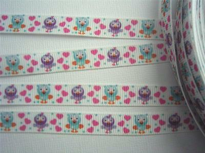 "BB Ribbon HOOT OWL WHITE 2m grosgrain 3/8"" hootabelle giggle hair bows"