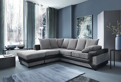 Dino Corner Sofa In Black&Grey or Brown&Beige With a Footstool or 2+3 Seater