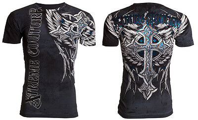XTREME COUTURE by AFFLICTION Mens T-Shirt PANTHER Cross Wings Tattoo Biker $40