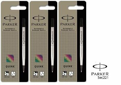 Genuine Parker Rollerball Refill Medium Fine- Red Black Blue Writing Quink Flow