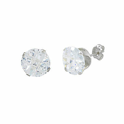 Sterling Silver Cubic Zirconia Invisible Round Casting Post Stud Earrings 8mm