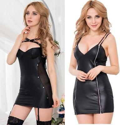 SEXY Vinyl Dress PU Faux Leather PVC Fetish Goth  8 10 12 14 16 RBM