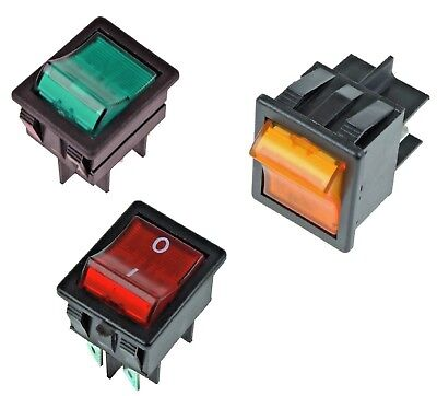 On/ Off Illuminated Large Rectangle Rocker Switch 4 Pin Car Dash Boat 20 Amp