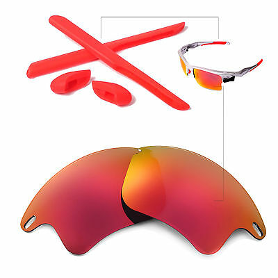 New WL Polarized Fire Red Lenses And Rubber Kit For Oakley Fast Jacket XL
