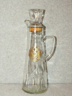 Vintage Pitcher/Decanter w/Gold Crest - Cork Glass Stopper