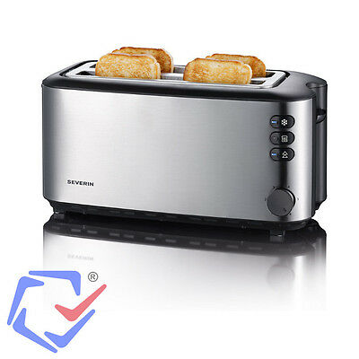 SEVERIN 4 Slice Electric Stainless Steel Toaster 1400W Kitchen Appliance Reheat