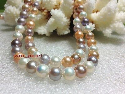 """AAAAA Luster 35""""10-11mm REAL natural South sea Multicolor pearl necklace 14K"""