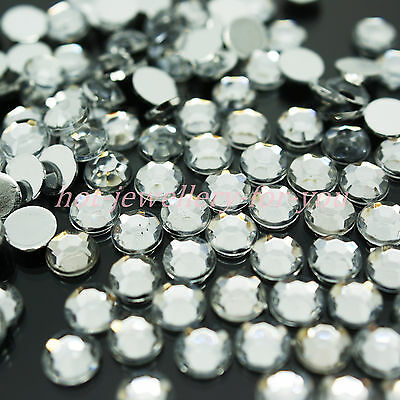 1000 Crystal Diamante Rhinestone Gem Clear Silver Back Acrylic Nail Art Craft