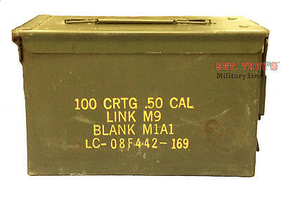 50 Cal M2A1 Military Ammo Can 5.56mm .50 Caliber Metal Box Very Good Condition