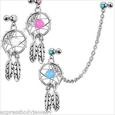 "16g 1/4"" Dream Catcher Tragus Cartilage Barbell Earring Pink Blue Clear 4MM Cz"