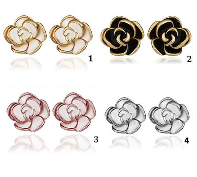 Stunning 18K Gold Plated Classic Silver Black Rose Gold White Stud Earrings