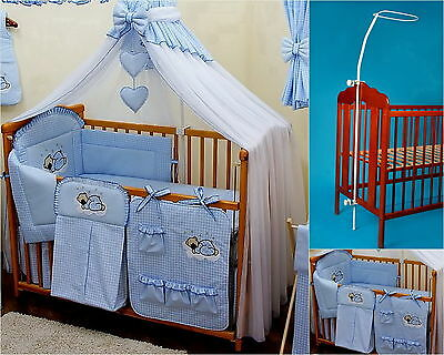 8 pcs BABY BEDDING SET /BUMPER/CANOPY /HOLDER to fit COT or COT BED BLUE