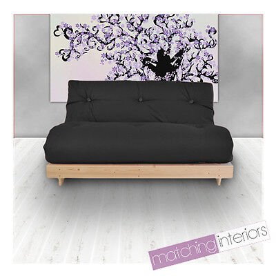 Black Budget Triple Futon Cotton Mattress 3 Seater Sofabed Sofa Guest Day Bed