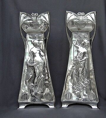 Art Nouveau Wmf Pair Flower Vases 22Inches Silver Plated Ladys Flowers Grapes