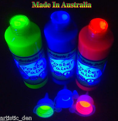 Glow Fluro Kids Paint Poster Paint UV Black Light  3x250ml Artistic Den YBR