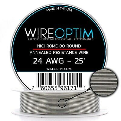 Nichrome 24 Gauge AWG Wire 25ft Roll .51mm , 1.64 Ohms/ft Resistance