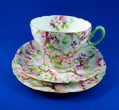 Maytime with Green Handle Shelley Tea Cup, Saucer and Plate Trio Set