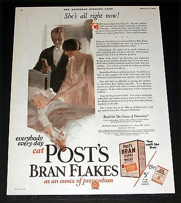 1926 Old Magazine Print Ad, Post's Bran Flakes, As An Ounce Of Prevention, Art!
