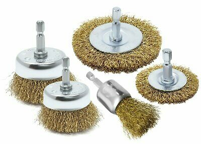 5pc Brass Wire Brush Drill Attachments Wheel Cups Deburr Rust removal BBQ Clean