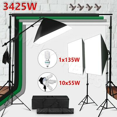 Photography Studio Lighting Kit Photo Backdrops Background Softbox Boom Arm Set